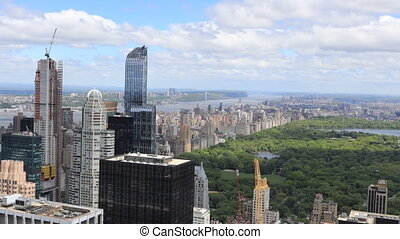 Timelapse aerial of midtown Manhattan region - A Timelapse...