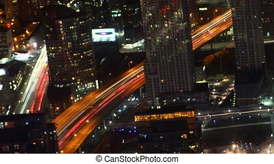 Timelapse aerial of traffic Toronto, Canada at night