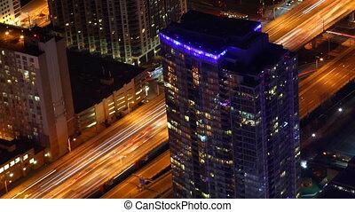 Timelapse aerial view Toronto at night
