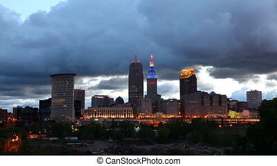 Timelapse as night Falls in Cleveland, Ohio - A Timelapse as...