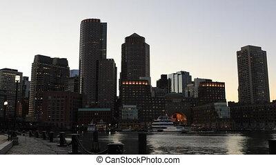 Timelapse at dusk of the Boston city center