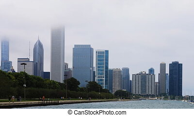 Timelapse Chicago city center in mist - A Timelapse Chicago...