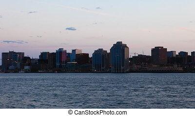 Timelapse Halifax, Canada skyline as night falls - A...