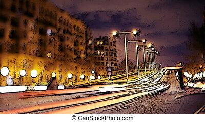 a timelapse of a street scene in barcelona, spain using tilt...