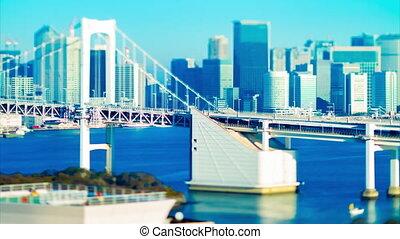 A timelapse of bridge highway at the urban city in Tokyo tiltshift