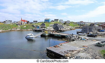 Timelapse of colorful buildings at Peggys Cove, Nova Scotia...