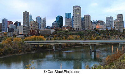 Timelapse of Edmonton, Canada City Center in fall - A...