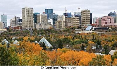 Timelapse of Edmonton, Canada downtown in autumn