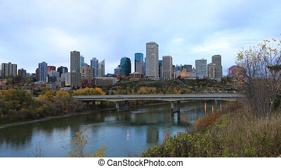 Timelapse of Edmonton, Canada downtown in fall