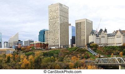 Timelapse of Edmonton downtown in autumn