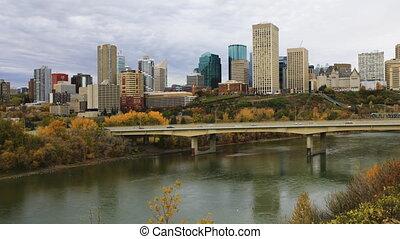 Timelapse of Edmonton downtown in fall