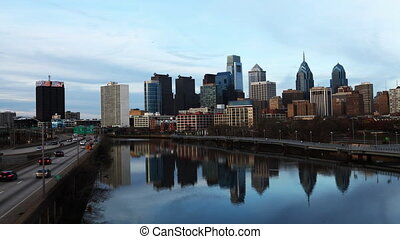 Philadelphia with a river - A timelapse of Philadelphia with...