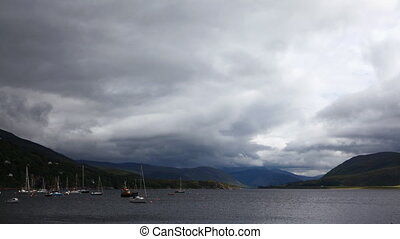 Timelapse of storm clouds over Ullapool, Scotland