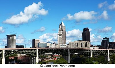 Timelapse of the city center of Cleveland, Ohio on a summer...