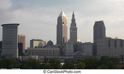 Timelapse of the city center of Cleveland, Ohio on a sunny...
