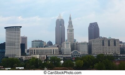Timelapse of the city center of Cleveland on a sunny day - A...