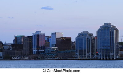 Timelapse of the Halifax, Canada skyline day to night - A...