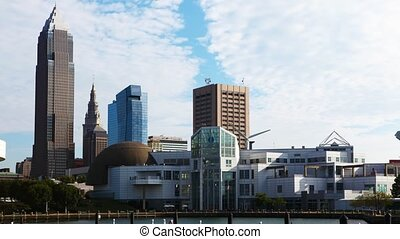 Timelapse of the skyline of Cleveland on a sunny day - A...