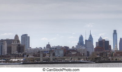 Timelapse pan of Philadelphia
