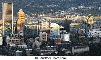 Timelapse Portland, Oregon skyline in the evening - A...