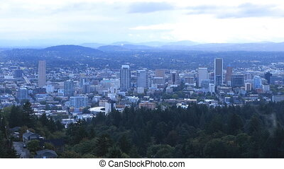 Timelapse Portland, Oregon skyline in the morning - A...