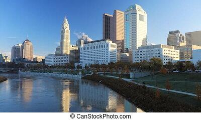 Timelapse scene of the Columbus, Ohio skyline - A Timelapse...