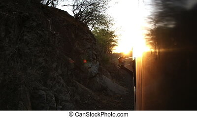 a timelapse shot from the el chepe train which passes...