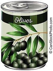 A tin of black olives