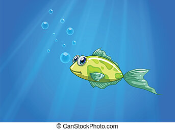 A tiny fish in the ocean - Illustration of a tiny fish in...