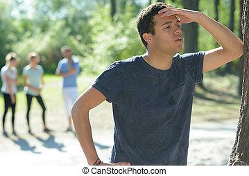 a tirded man after running