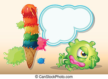 A tired green one-eyed monster near the giant icecream