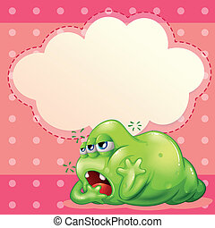 Illustration of a tired monster below the empty cloud template