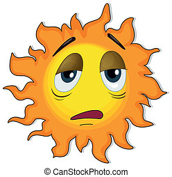 A tired sun - Illustration of a tired sun on a white...