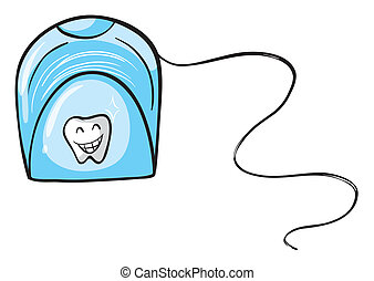 A tissue holder - Illustration of a dental floss on white