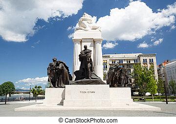 a, tisza, istvan, monumento, perto, a, húngaro, parlamento,...