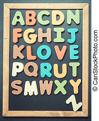 A to Z alphabet colorful wooden word on black board4
