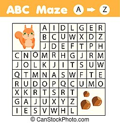 Maze game for children. Help squirrel go through labyrinth. Fun page for toddlers and kids. Learn English alphabet