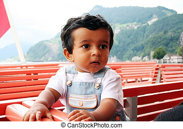 A toddler in Boat in Switzerland