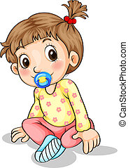 A toddler with a pacifier - Illustration of a toddler with a...