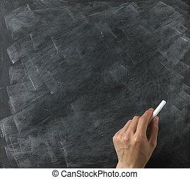 a, tom, blackboard, och, krita, klar, för, din, avskrift, eller, text, med, hand
