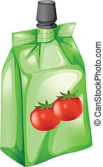 A tomato juice in a drinking pouch - Illustration of a ...