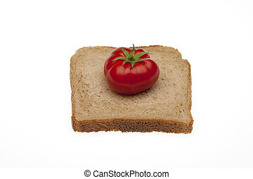 A tomato on a slice bread with path