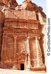 A tomb entrance in Petra, Jordan.