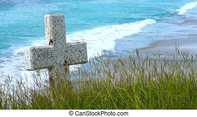 A Tombstone near a beach