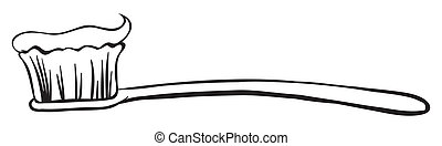 Illustration of a toothbrush with a toothpaste for kids on a white background