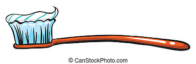 Illustration of a toothbrush with a toothpaste on a white background