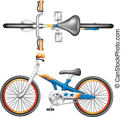 A top and side view of a bicycle on a white background
