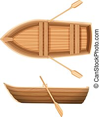 A top and side view of a boat