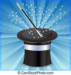 A top hat and wand - illustration
