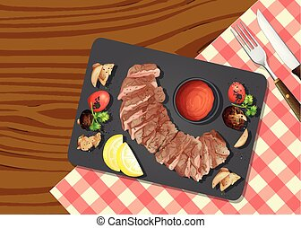 A Top View of Steak illustration